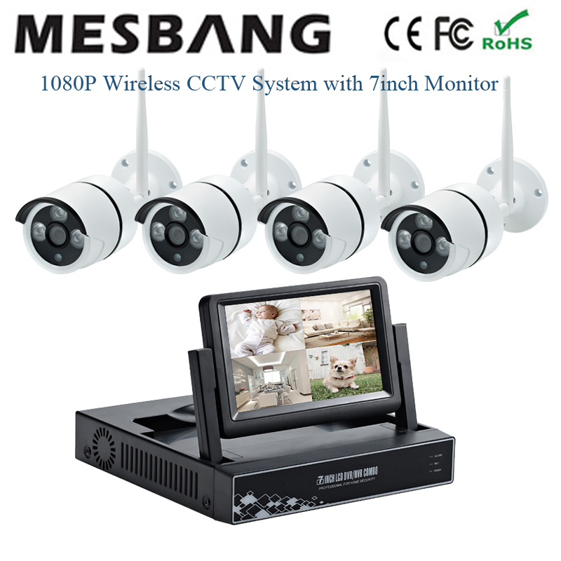 New 1080P outdoor wifi IP Camera kits security camera system 2MP wireless cctv camera kits 4ch NVR wireless System with monitor