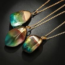 2019 New Natural Stone Necklace Transparent Colorful Crystal Pendant Necklace Bohemian Quartz Stone Necklaces for Women