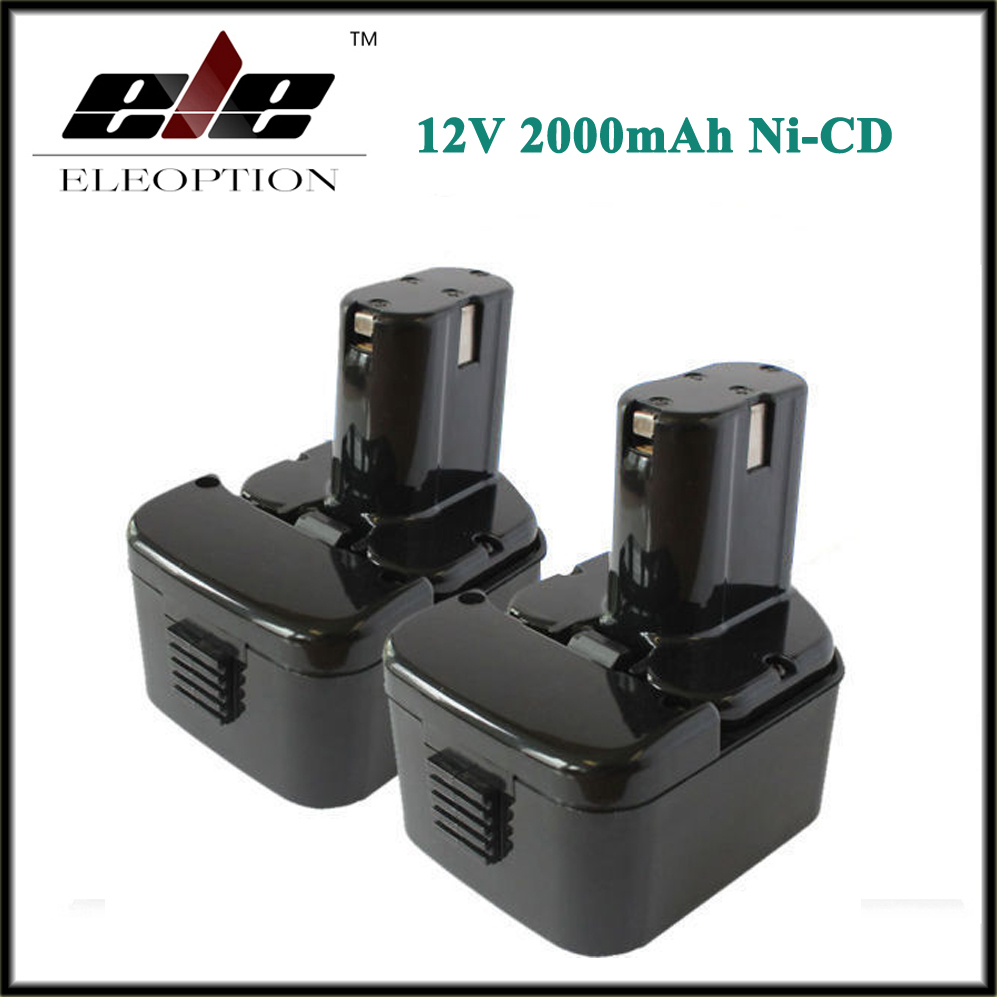 ФОТО Eleoption 2 PCS 12V 2.0AH 2000mAh Rechargeable Battery For HITACHI EB1226HL EB1212S EB1220RS EB1220HL Power Tool