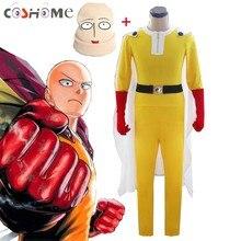 Coshome Costumes Cosplay pour homme, combinaison de Cosplay Saitama, cape + ceinture + chapeau + gants, ensemble complet pour fête dhalloween