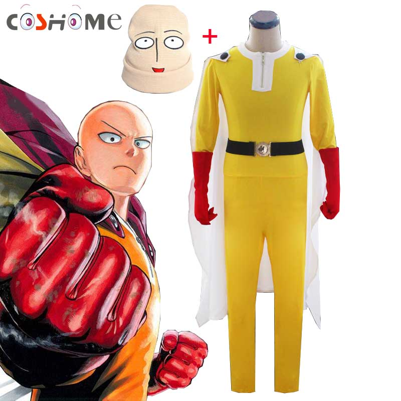 Coshome One Punch Man Cosplay Costumes Saitama Cosplay Jumosuits+Cloak+Belt+Hat+Gloves Full Set For Halloween Party