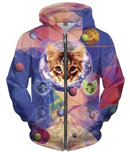 Geo Katze Pullover 3D Full Printed Zip-Up Hoodie Casual Tumblr Mode Sweatshirt Frühjahr Herbst Katze Mond Crewneck Pullover tropfen