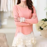 2016 Invierno Coreano Flojo Irregular Señoras Crochet Malla Blusa de Encaje mujeres Tops Ahueca Hacia Fuera Camisa de Encaje Mujer Blusas Tamaño Grande XXL