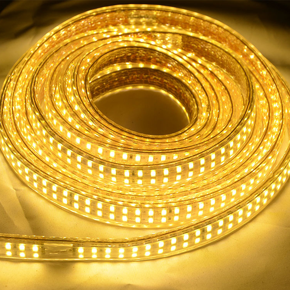 5730 LED Strip AC220V Neon Rope Light 180 240Leds m Flexible Waterproof Ribbon Tape With Switch EU Plug Home Outdoor Decoration in LED Strips from Lights Lighting