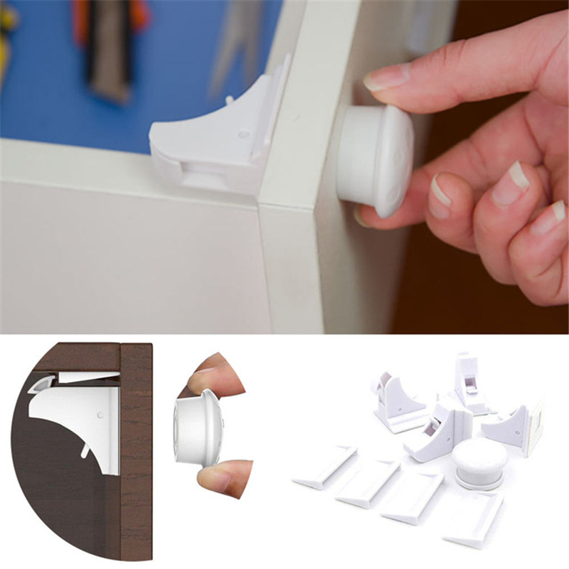 4pcs Magnetic Child Lock Baby Cabinet Safety Locks Kids Drawer Security Latches