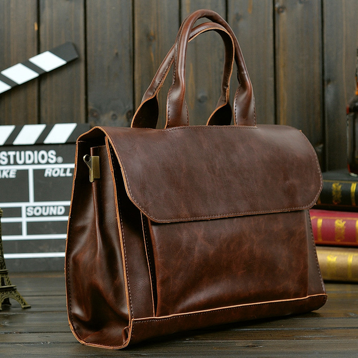 2018 PU Leather Laptop Briefcase Business Computer Bag For men Vintage Handbags,New Fashion Men Messenger Bags Male Shoulder bag