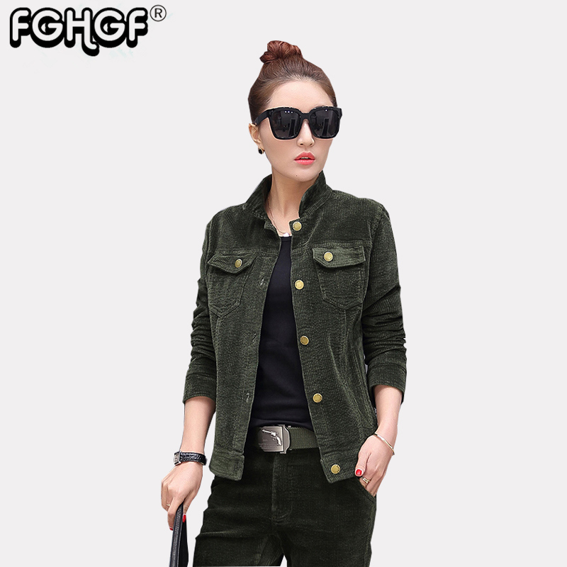 high quality Spring Jacket Coat Casual Corduroy turn-down collar Autumn Jacket Women Mil ...