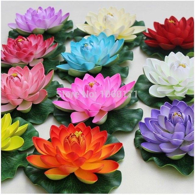 Garden and home decoration 5 colors available 17cm large artificial garden and home decoration 5 colors available 17cm large artificial lotus flower water lily water features mightylinksfo