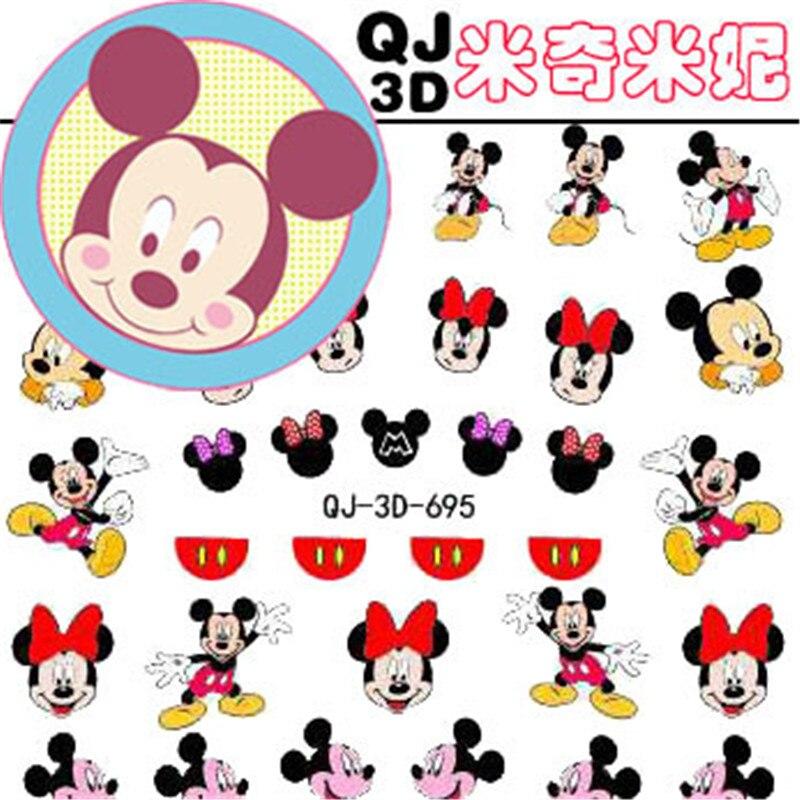 De los niños de Disney pegatinas de dibujos animados Mickey Minnie etiqueta engomada del clavo 3D etiqueta Juguetes