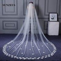 Handmade Lovely Flowers Edge Wedding Veils Long One Layer Ivory Bridal Veils Cathedral Veil velo novia SBV23