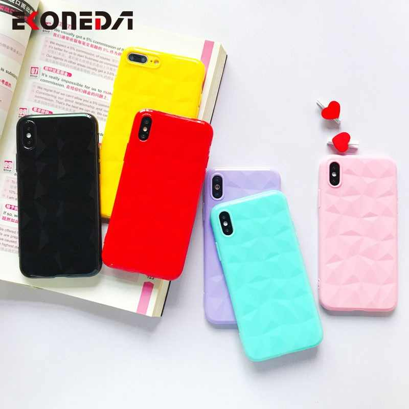 EKONEDA Diamonds Glossy Case For iPhone X Case Silicone Candy Colors Soft Cover For iPhone 6S 6 7 8 Plus XS Max XR Case