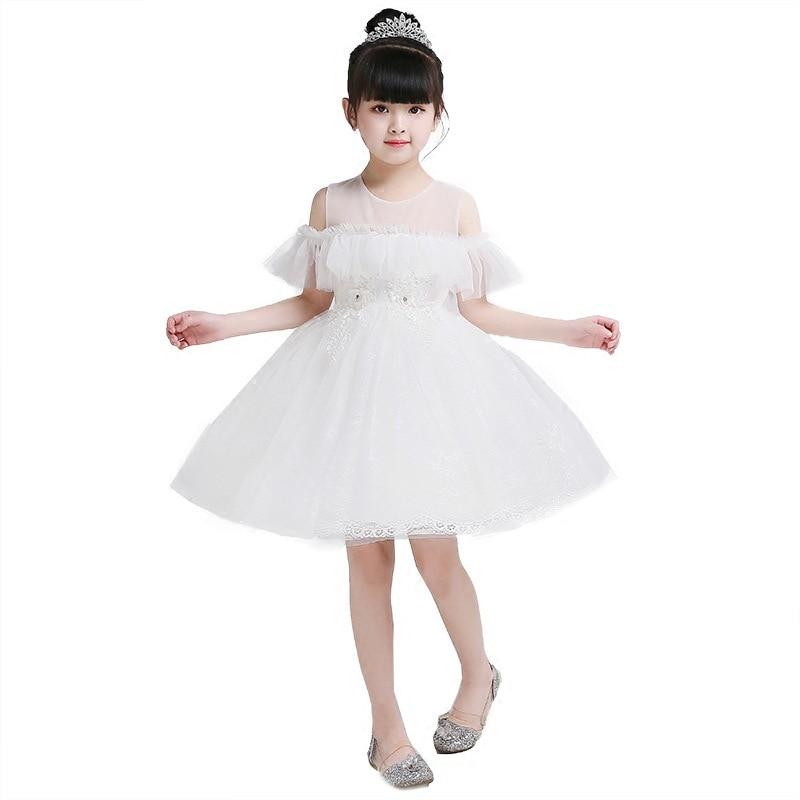 New Spring Summer White   Flower     Girl     Dresses   For Wedding Custom Made Pageant   Dress   Sleeveless and Appliques