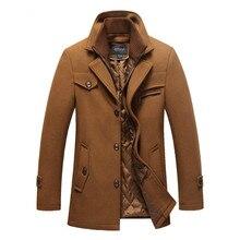Для Мужчин's Шерстяное пальто Топ кашемировый пиджак Для мужчин Повседневное Ветровка Длинные приталенный плащ пальто толстые шерстяные с Съемный шарф пальто