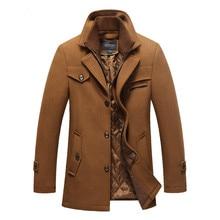 Men's Wool Coat Top Cashmere Jacket Men Casual Windbreaker Long Slim Fit Trench Coat Thick Woolen With Detachable Scarf Coats