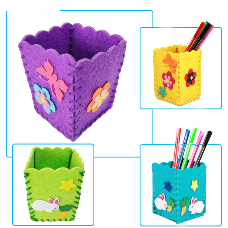 Baby Kids Educational DIY Craft Tangram Block Kit Cute Creative Handmade Pen Container DIY Pencil Holder Kids Craft Toy Kits