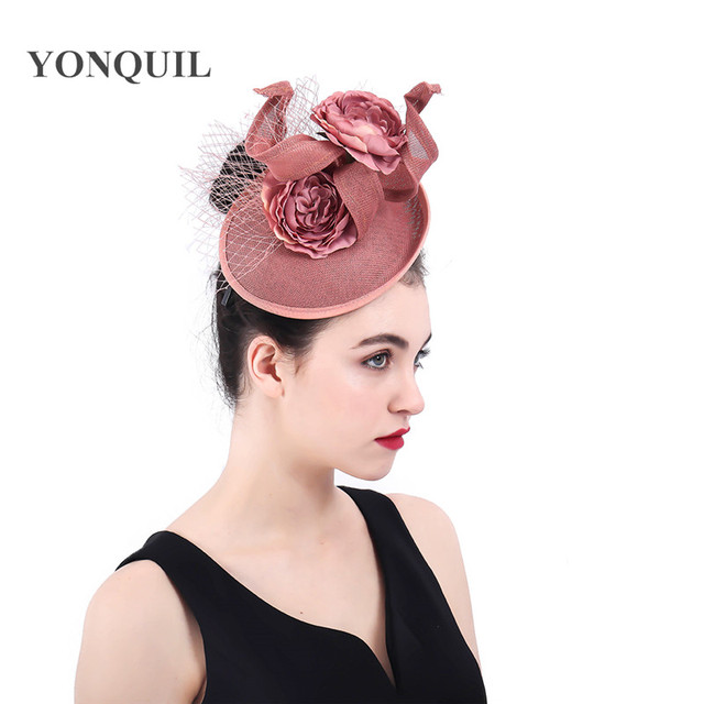 Fascinators Hat veils Mesh Cocktail Tea party hat flower Royal Ascot hair  clips wedding headdress elegant 7694aed74a57