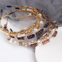 Oaoleer Hair Accessories 1PC Marine style Gemstone Hoop Headband Hairband for Women Girls Pearl Shell Bezel Band
