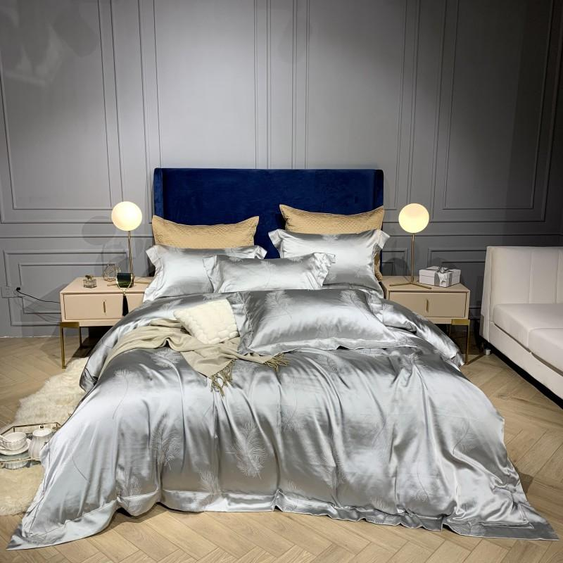 Silky Satin Duvet Cover Bed sheet Pillow sham Solid Silver Green, Ultra Luxury and Soft, Floral Leaf Feather Design Bedding set Silky Satin Duvet Cover Bed sheet Pillow sham Solid Silver Green, Ultra Luxury and Soft, Floral Leaf Feather Design Bedding set