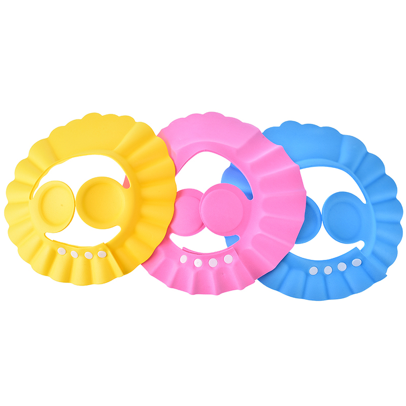 3Colors Kids Shower Cap Adjustable Soft Baby Shower Cap Baby Care Bath Protection Baby Bathing Cap