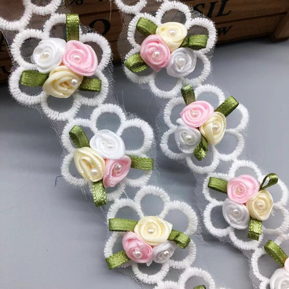 30X Rose Pearl Flower Leaves Lace Trim Wedding Ribbon Applique DIY Sewing Craft