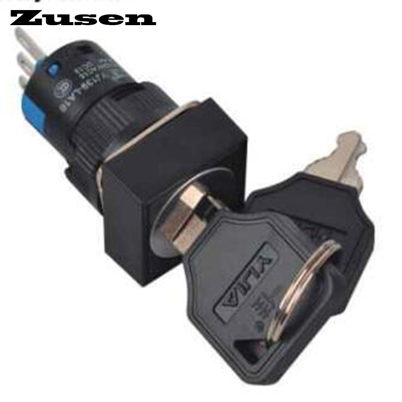 Zusen 16mm square plastic key 2 position lock switch LA16-11Y/21/F 12mm zinc alloy electronic key switch on off lock switch phone lock security power switch tubular terminals 2 keys 2 position