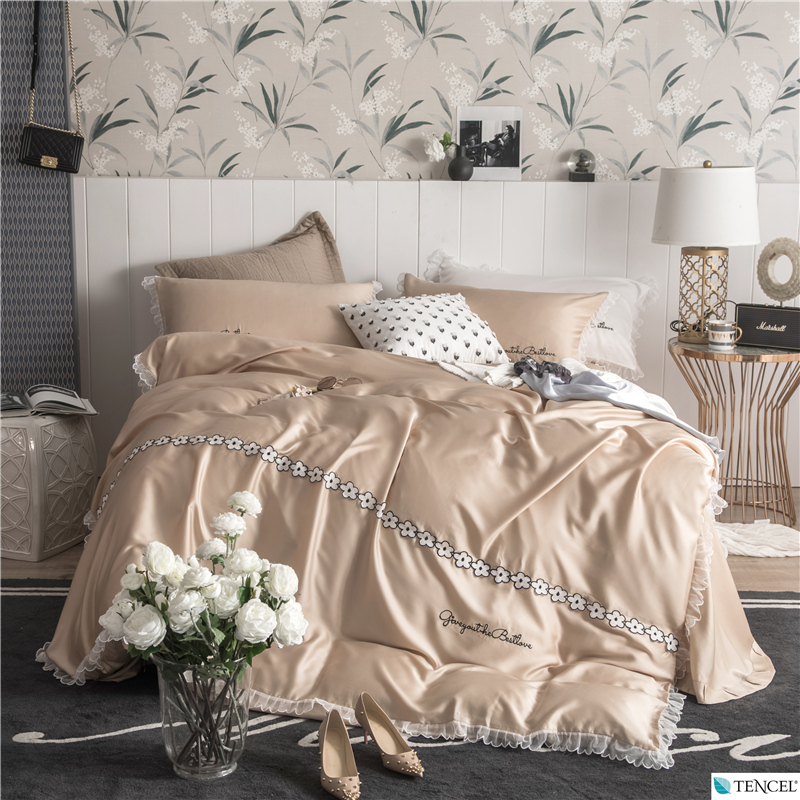 Luxury Tencel Simple Floral Pure Color Bedding Set Embroidery Lace Duvet Cover Bed Sheet Pillowcases Queen King Size 4PcsLuxury Tencel Simple Floral Pure Color Bedding Set Embroidery Lace Duvet Cover Bed Sheet Pillowcases Queen King Size 4Pcs