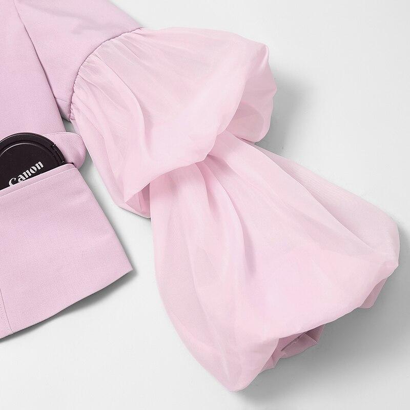 2019 Sexy Fashion Pant Anzüge Set Lange Puff Sleeve Mesh Verstärktes Top Frauen 2 Stück Bleistift Hose Setzt Frauen Zwei stück Outfits - 4