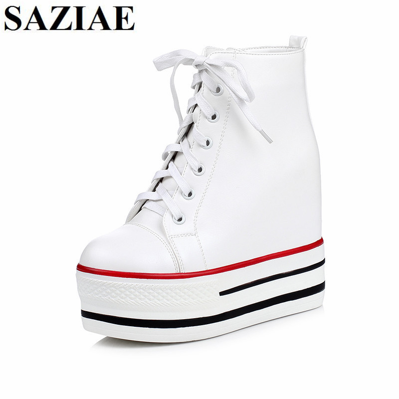 2017 New Arrived Black White Shoes Height Increasing Women Shoes Spring Shoes Woman Platform Wedges Fashion Flats Free Shipping free shipping new arrival white height increasing women s high heel platform canvas shoes women solid color