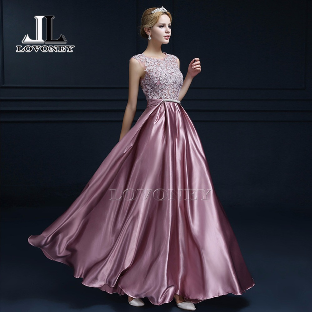 Satin Long Lace Evening Dresses