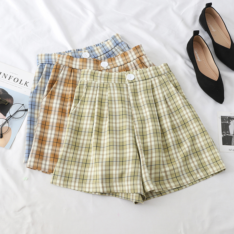 Summer Loose Plaid Shorts For Women High Waist Button A-line Wide Leg Shorts 2019 Casual Solid Female Pockets Slim Hot Shorts