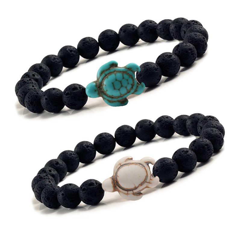 Синие морские бусины в виде черепахи браслеты для женщин и мужчин классические 8 мм Черные бусы из лавы вулканического камня эластичный браслет дружбы пляжные украшения