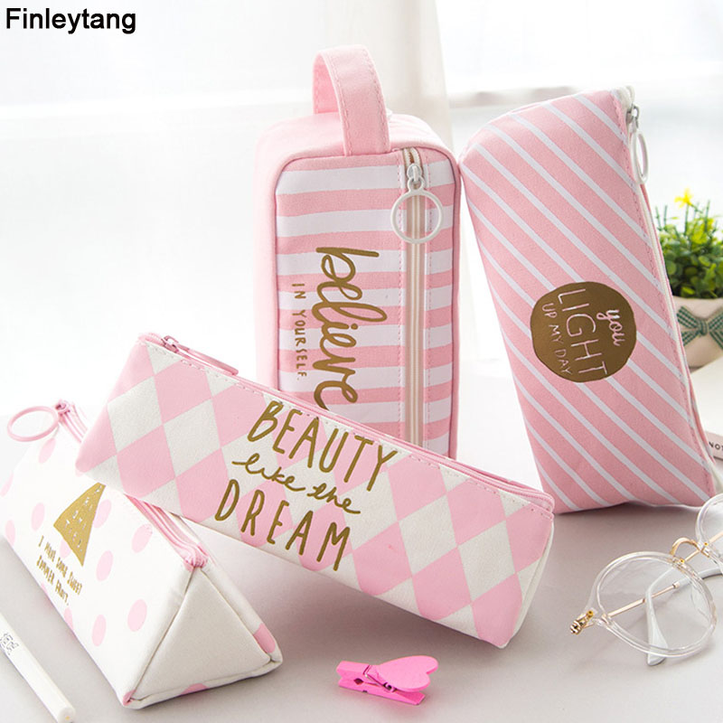 Kawaii Pink Large Capacity Canvas Pencil Case Women Pencil Bag Student School Stationery Supplies Pencilcase Cute Cosmetic Bag