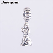 Chinese Dog Dangle Charms 925 Sterling Silver Fits European style Bracelets Bangles DIY Making assessories Jewyuer Jewelry DA101(China)