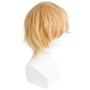 Image 4 - L email peruk Yepyeni Erkek Peruk 32 cm/16.6 inç Kısa Sarışın Isıya Dayanıklı Sentetik Saç Peruk erkekler Cosplay Peruk