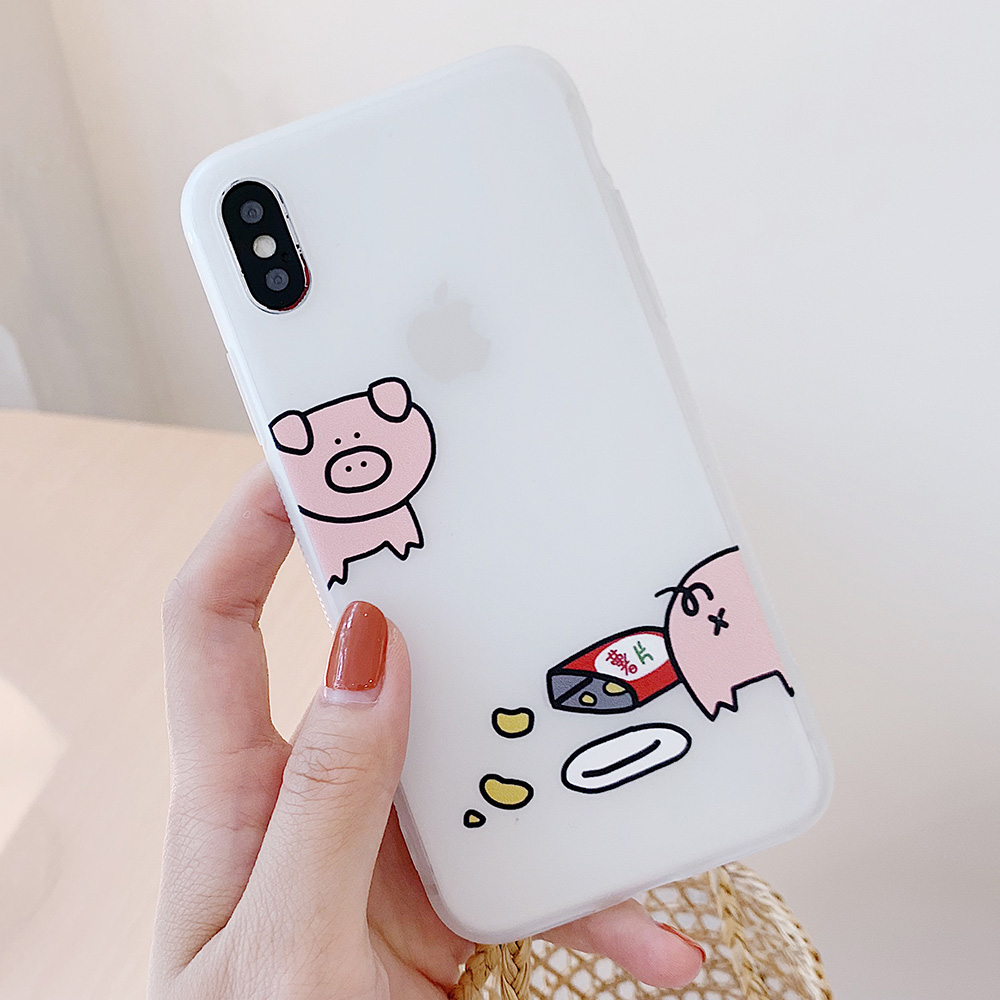KIPX1100_13_JONSNOW Matte Case For iPhone 7 Plus 8 6 6S 6 Plus X XR XS Max Lovely Pig Baby Pattern Translucent Soft Silicone Cover Cases
