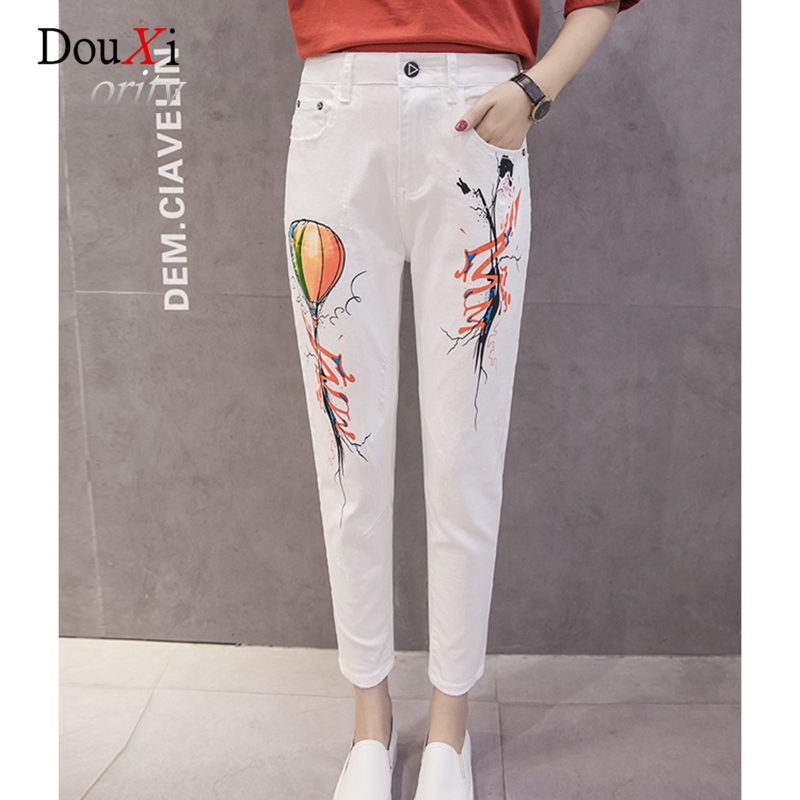 2017 Harem Jeans Pants For Women Loose Hole Ripped Plus Size 3XL Ankle-length White BF Boyfriend Cowboy Denim Female Trousers new summer vintage women ripped hole jeans high waist floral embroidery loose fashion ankle length women denim jeans harem pants
