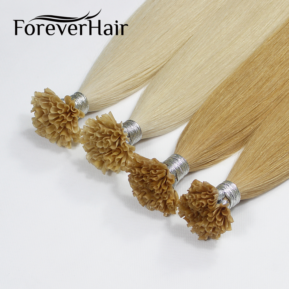 FOREVER HAIR 0.8g/s Remy Prebonded U Tip Human Hair Extension Italian Keratin European Fusion Hair 100s/pack DHL Fast Shipping