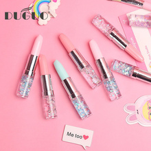 DUGUO cute stationery creative lipstick neutral gel pen sand material girl flash portable student 0.38mm