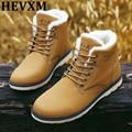 HEVXM Hot Sale Homem Outono Sapatos de Inverno 2016 Homens de Couro do Tornozelo bota Sapato Da Moda Casual Lace-Up Dedo Do Pé Redondo Martin Bota de Trabalho de Segurança