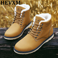 HEVXM Hot Sale Man Autumn Winter Shoes 2016 Leather Men Ankle Boot Fashion Casual Shoe Lace-Up Round Toe Safety Work Martin Boot