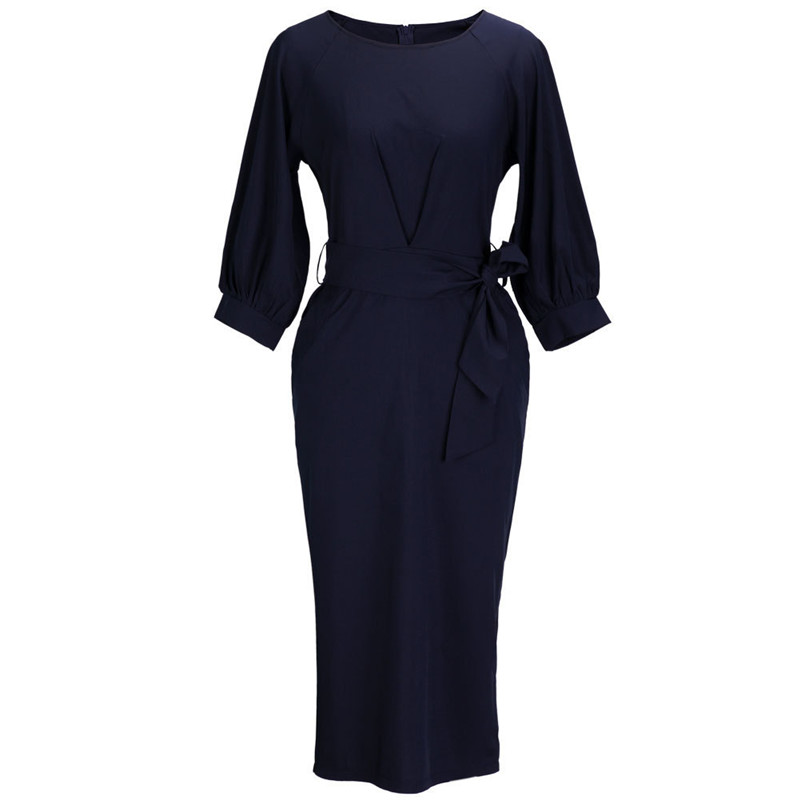 High Quanlity Office Ladies Chiffon Sashes Dresses Women 2019 New 3 4 Lantern Sleeve Navy Blue Sheath Party Dress Vestidos XL in Dresses from Women 39 s Clothing