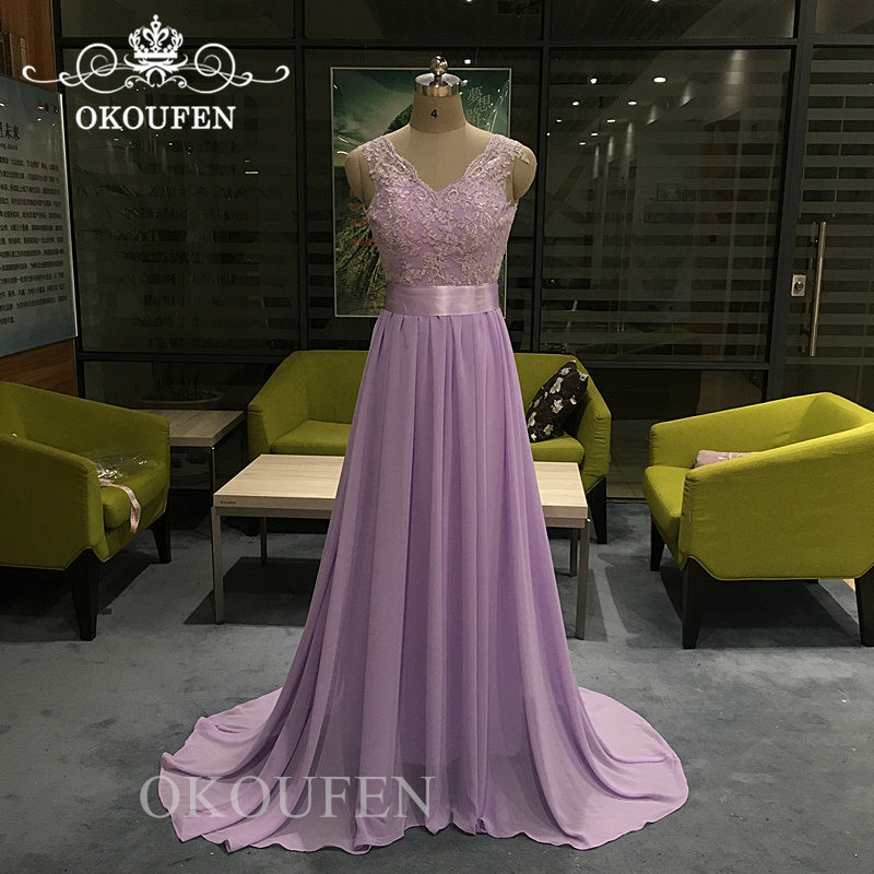 100% Real Photos Lavender   Bridesmaid     Dresses   With Ribbon 2019 Lace Top and Chiffon Skirt Long Maid Of Honor   Dress   For Women