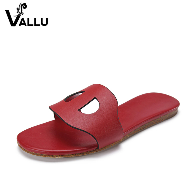 Women Slippers Summer 2018 New Arrival Round Toes Shoes Women Cut Out Vintage Genuine Leather Women Flat Shoes Plus Size 41