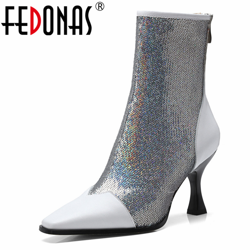FEDONAS Brand Women Sexy Wedding Party Shoes Woman High Heeled Zipper Ankle Martin Boots Pointed Toe Prom Shoes Ladies Pumps стоимость