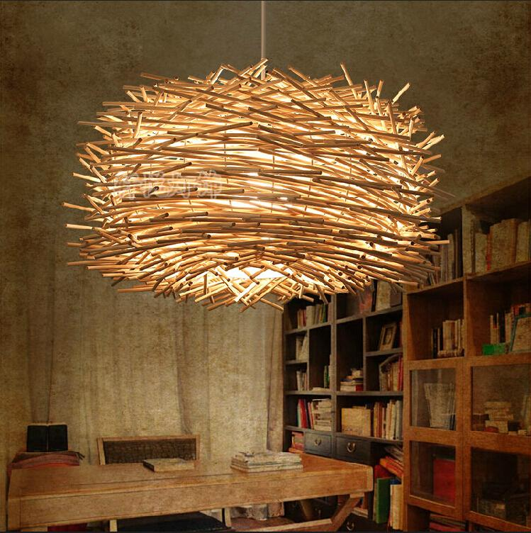 Bamboo Pendant lights pot restaurants balcony lamp minimalist Rattan Garden Restaurant Bar art personality nest bamboo bedroom pendant lights balcony