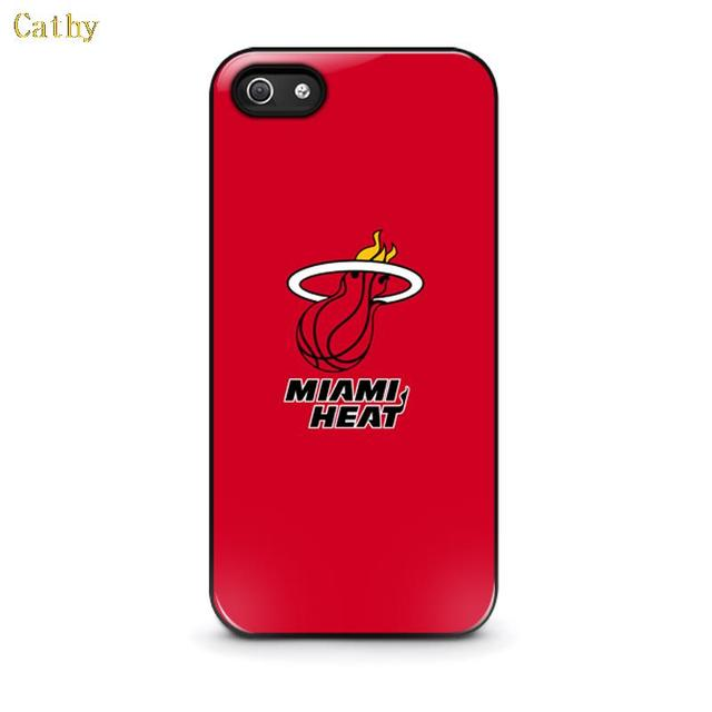 For iphone 4 4s 5 5s 6 6 plus Miami Heat Basketball Team Red Fire On Black plastic phone bag case cover