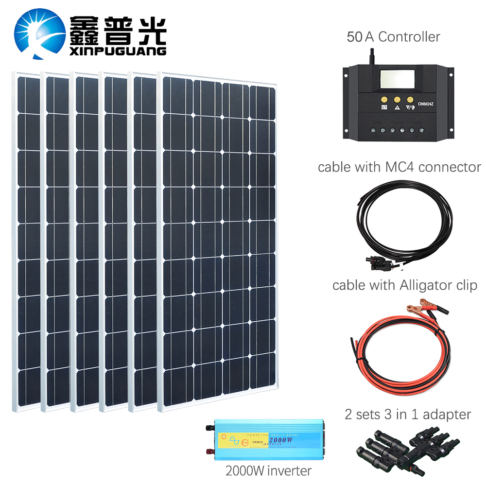 XINPUGUANG 100w Monocrystalline solar panel 600w solar kits system charge with 2000w inverter for 12v or 24v batteryXINPUGUANG 100w Monocrystalline solar panel 600w solar kits system charge with 2000w inverter for 12v or 24v battery