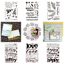 Happy Merry Flower Transparent Clear Silicone Stamp Set for DIY Scrapbooking/Photo Album Cards Making Decorative Clear Stamp