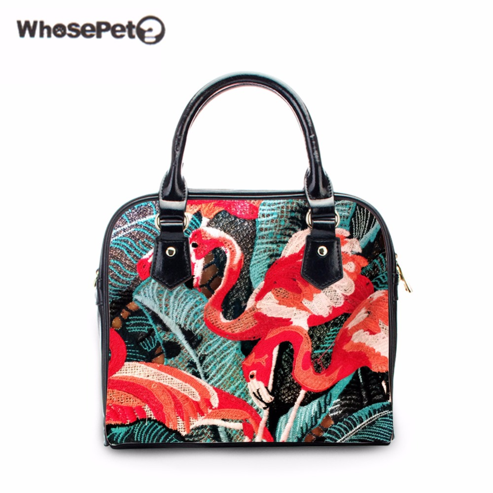 WHOSEPET Flamingo Women Shoulder Bag Designer Handbags High Quality Female Crossbody Shoulder Bags Mini Clutch Purse Bag Stylish berzimer elegant vintage women shoulder bag stylish black green red orange pink shoulder stylish crossbody bags for women