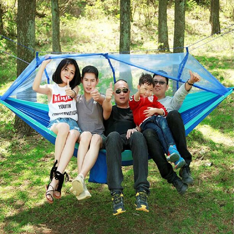Image 2 - Outdoor parachute cloth hammock with mosquito nets ultra light nylon double army green camping air super load bearing tent-in Shade Sails & Nets from Home & Garden